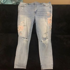 AE embroidered jeans.